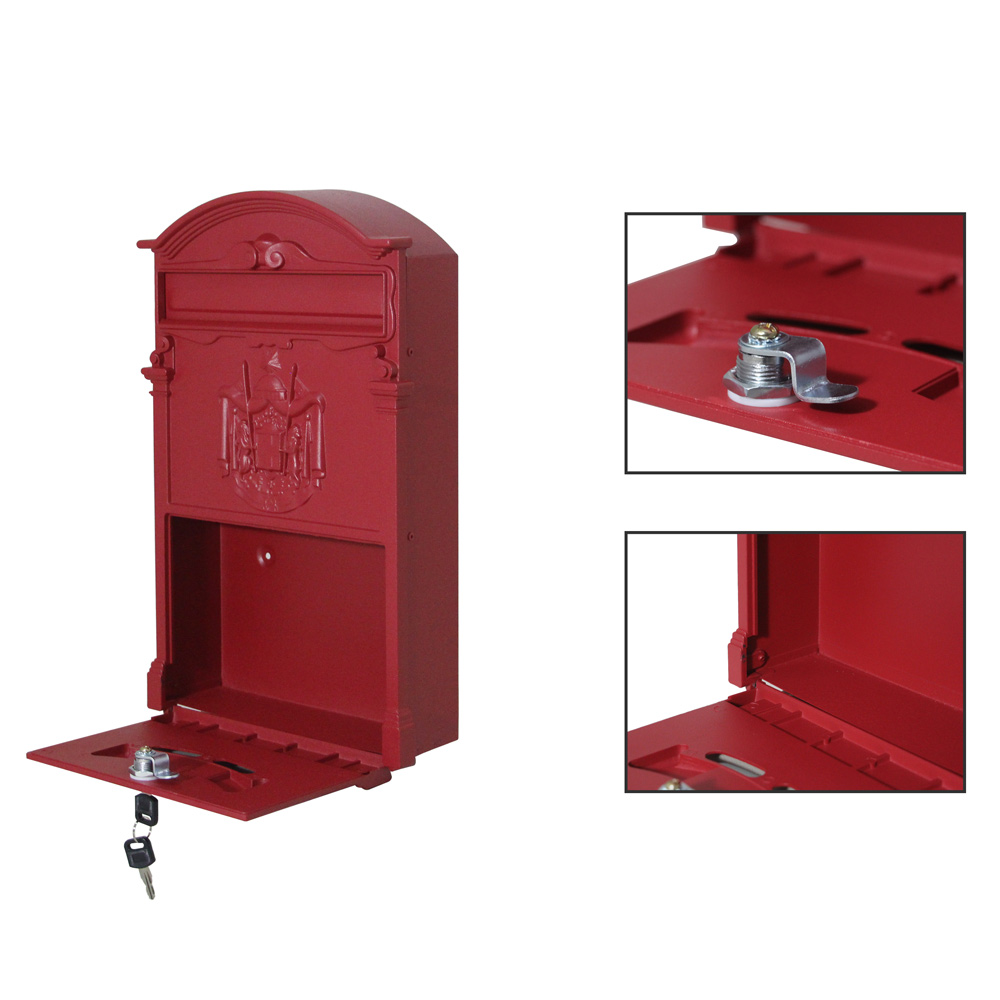 Durablevintage Retro Cast Iron Wall Mount Letter Mailbox