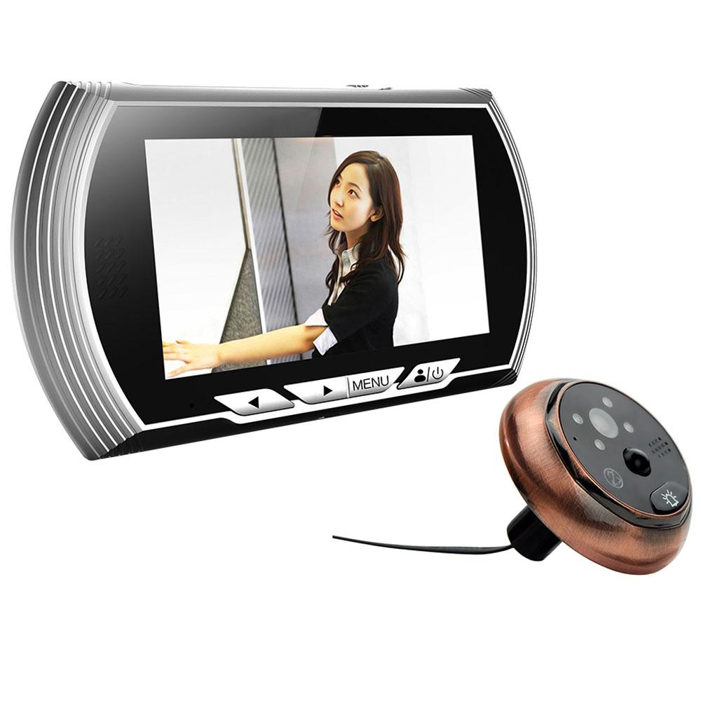 4 3 hd visual monitor door peephole peep hole pir for Door peephole camera
