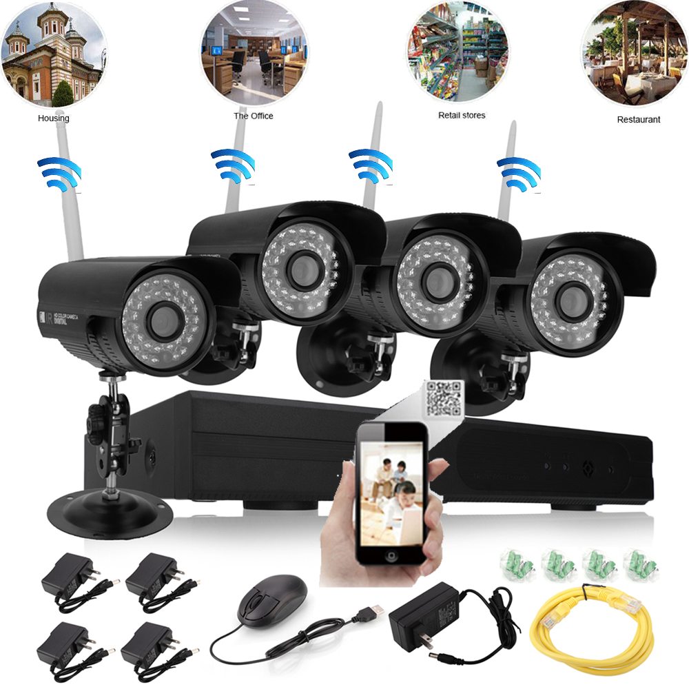 8ch 4pcs hd 720p wifi wireless ip camera system cctv nvr outdoor security video ebay. Black Bedroom Furniture Sets. Home Design Ideas
