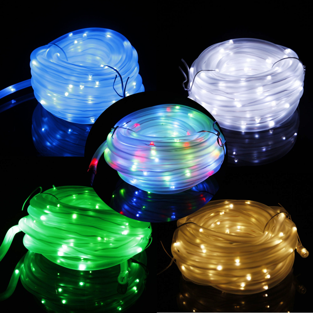 Led Rope Light Tinsel Bauble: New 50/100 LED Solar Tube Rope String Lamp Yard Outdoor