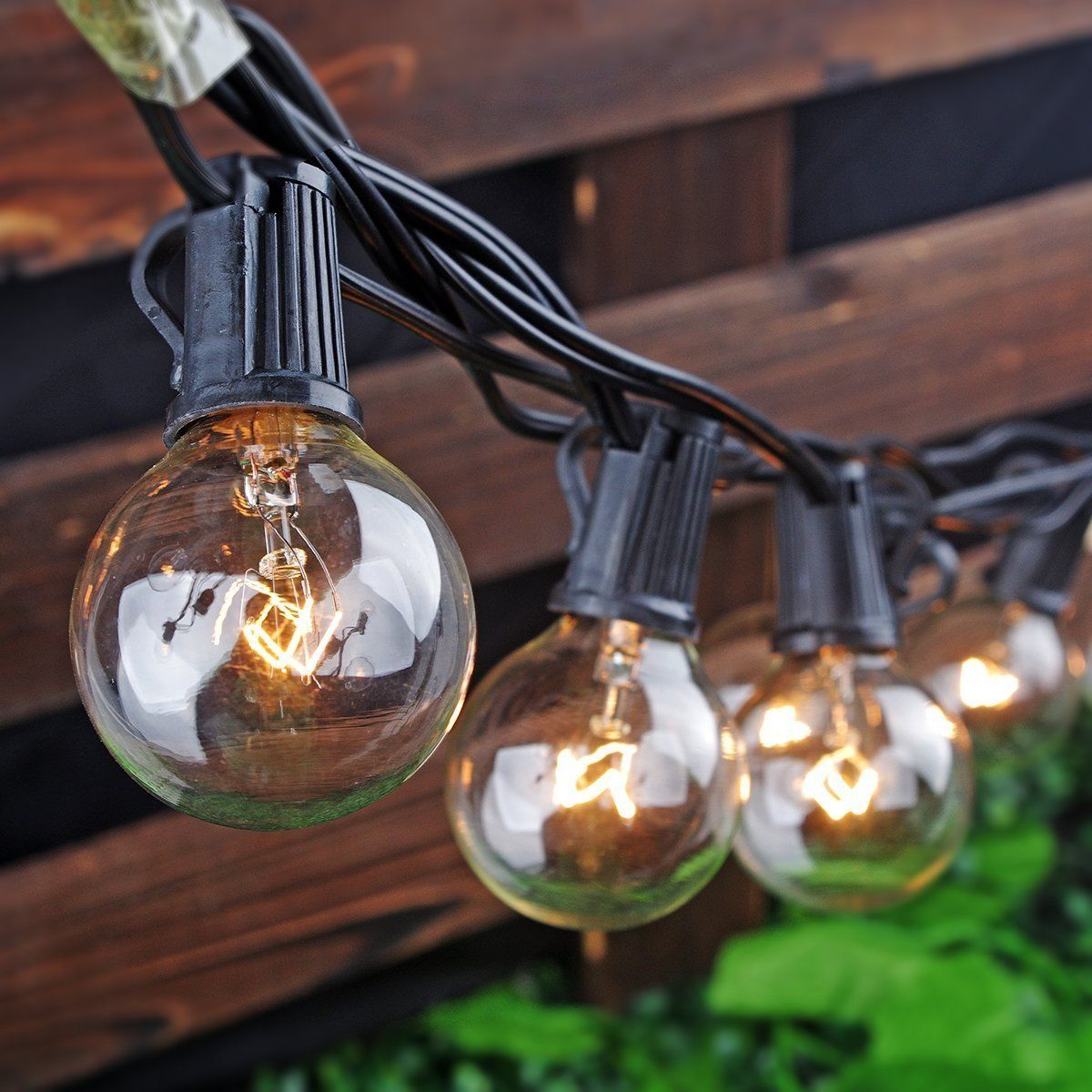 Clear Globe String Lights Set Of 25 G40 Bulbs : Set of 25 Clear Bulbs: 25 Ft G40 Outdoor String Lights Globe Bulb Xmas Party
