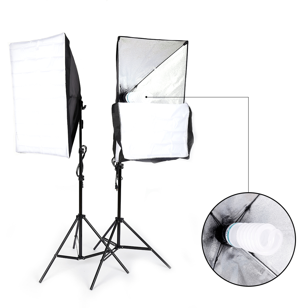 Soft Studio Lighting Kit: 2* Photography Lighting Softbox Stand Photo Equipment Soft
