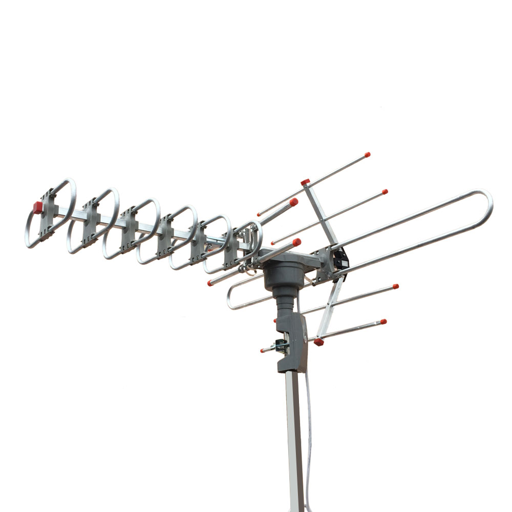 Outdoor amplified antenna digital hd tv 150 mile 360 rotor for Hdtv antenna template