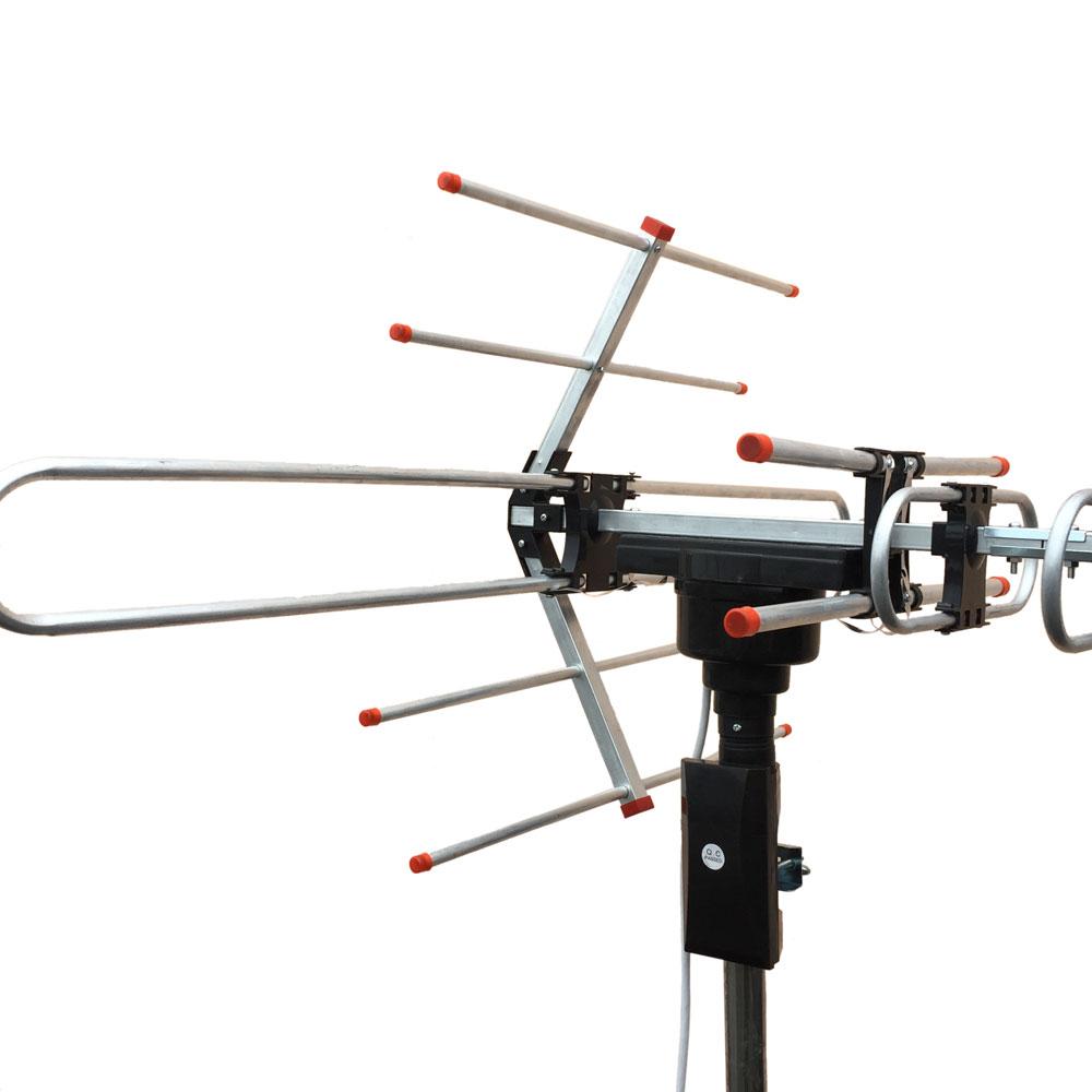 Outdoor Amplified Antenna Digital Hd Tv 360 Rotor 38db Uhf