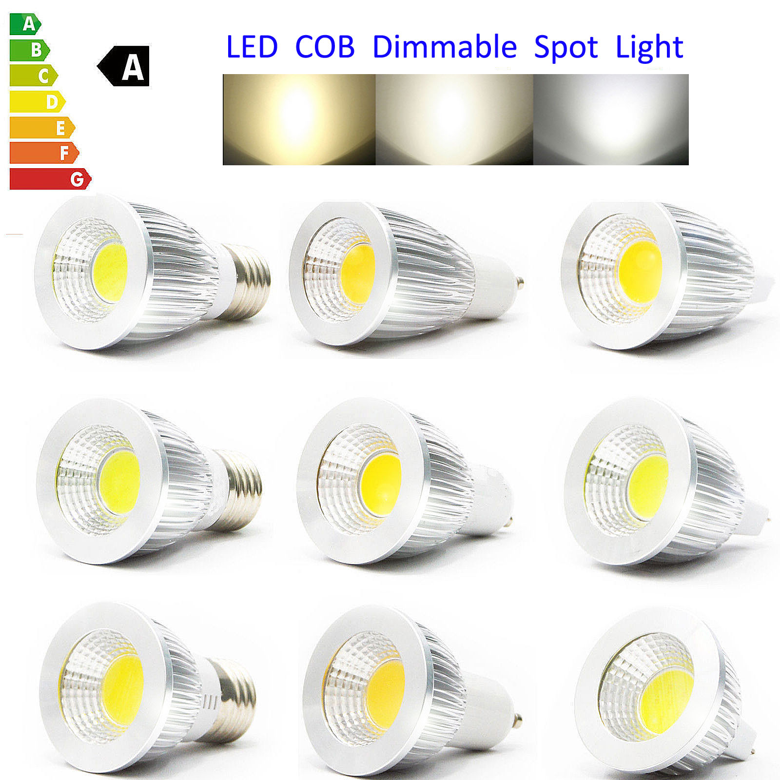 mr16 gu10 e27 6w 9w 12w dimmable led cob spotlight bulb lamp cool warm white ebay. Black Bedroom Furniture Sets. Home Design Ideas