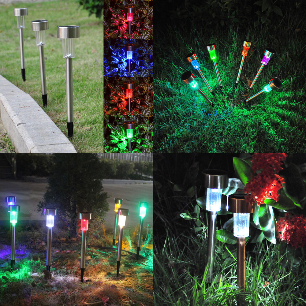 10x Color Changing Outdoor Garden Led Solar Powered Landscape Lights Lawn Lamp Ebay