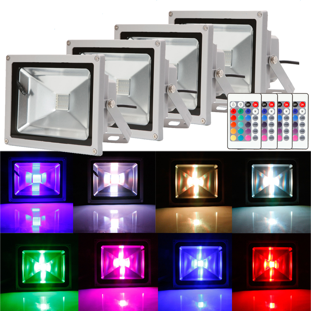 Lot4 20W Marswell RGB LED Flood Light Indoor Garden Yard