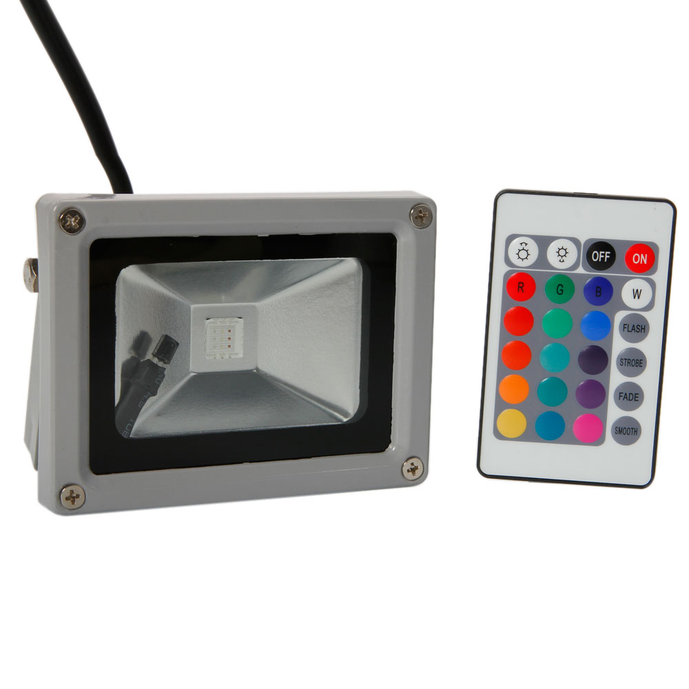 Outdoor Lights Remote Control: 10 Pack 10W Waterproof RGB Memory LED Outdoor Flood Light