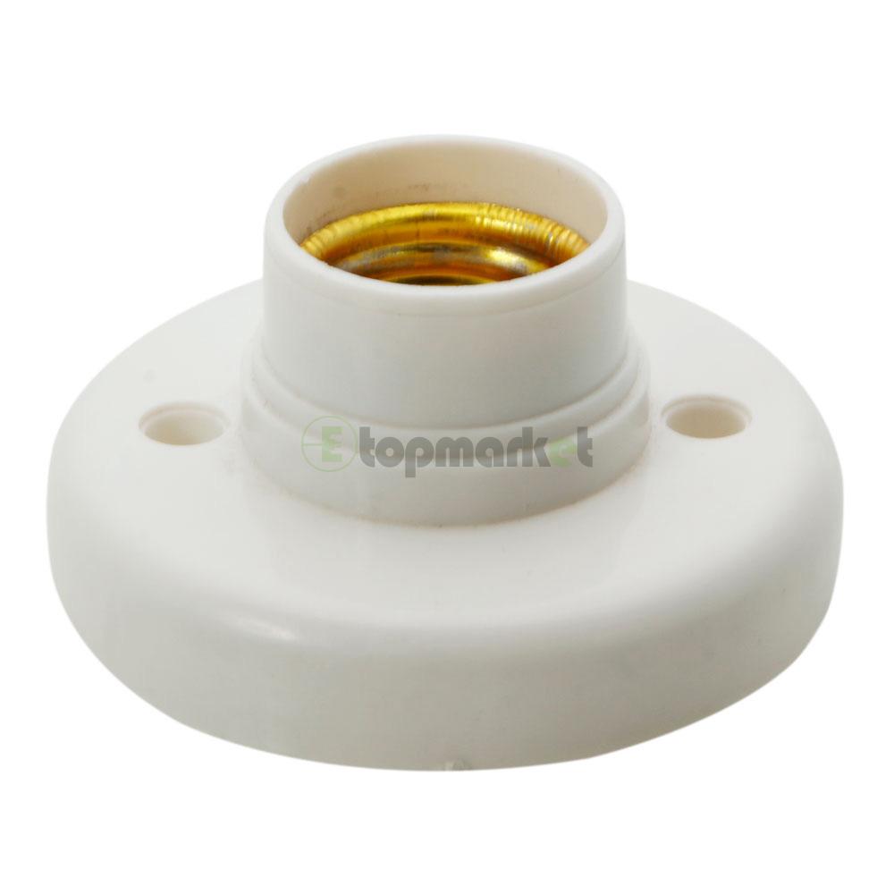 5x e27 screw base round plastic light bulb lamp socket holder adapter white ebay Light bulb socket