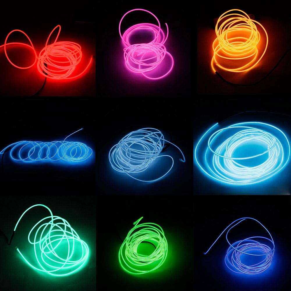 3M LED Flexible Tube Soft Strip Lamp Light 10 Color Party Car Decor +  Controller