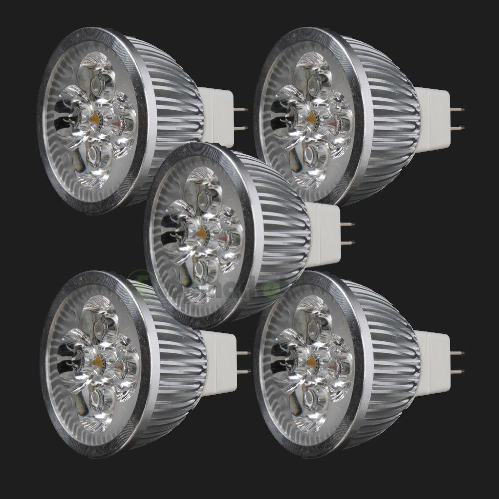 Led Spotlight Light Bulbs: 5X LED Spotlight Bulb 4W MR16 GU5.3 DC12V Warm White Spot