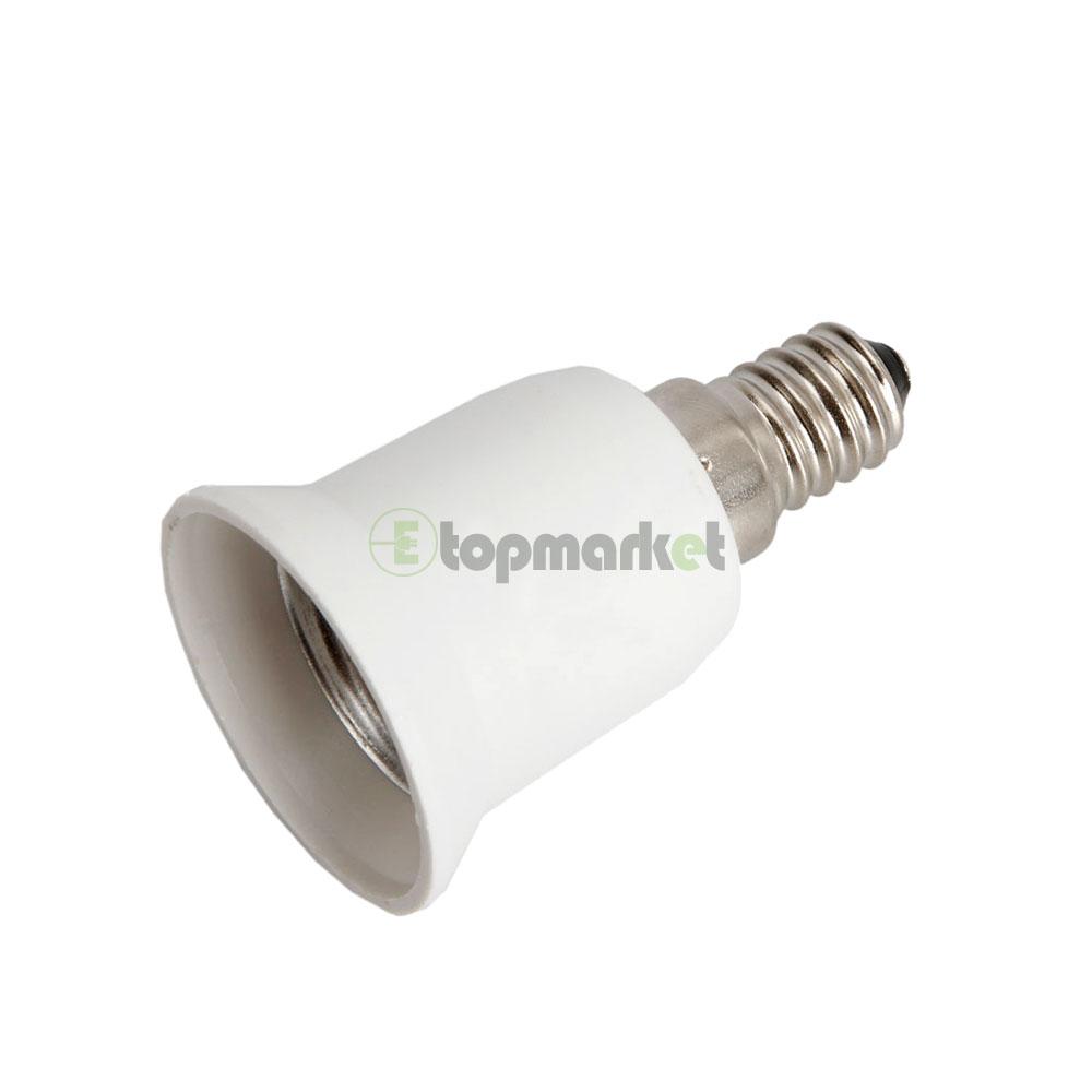 e14 to e27 base led light lamp holder bulbs socket adapter converter white ebay. Black Bedroom Furniture Sets. Home Design Ideas