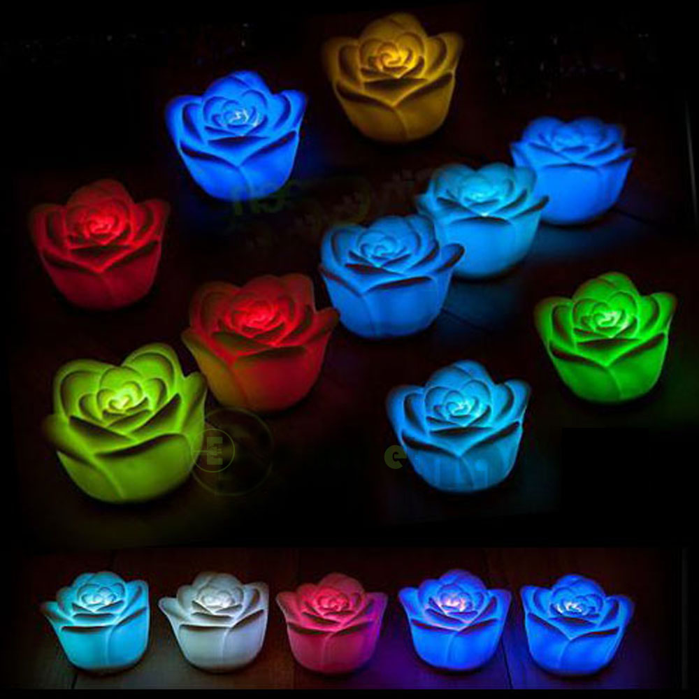 New bright night lights electronic led 7 color changing for Color changing roses